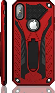 Kitoo Designed for iPhone Xs Max Case with Kickstand, Military Grade 12ft. Drop Tested - Red