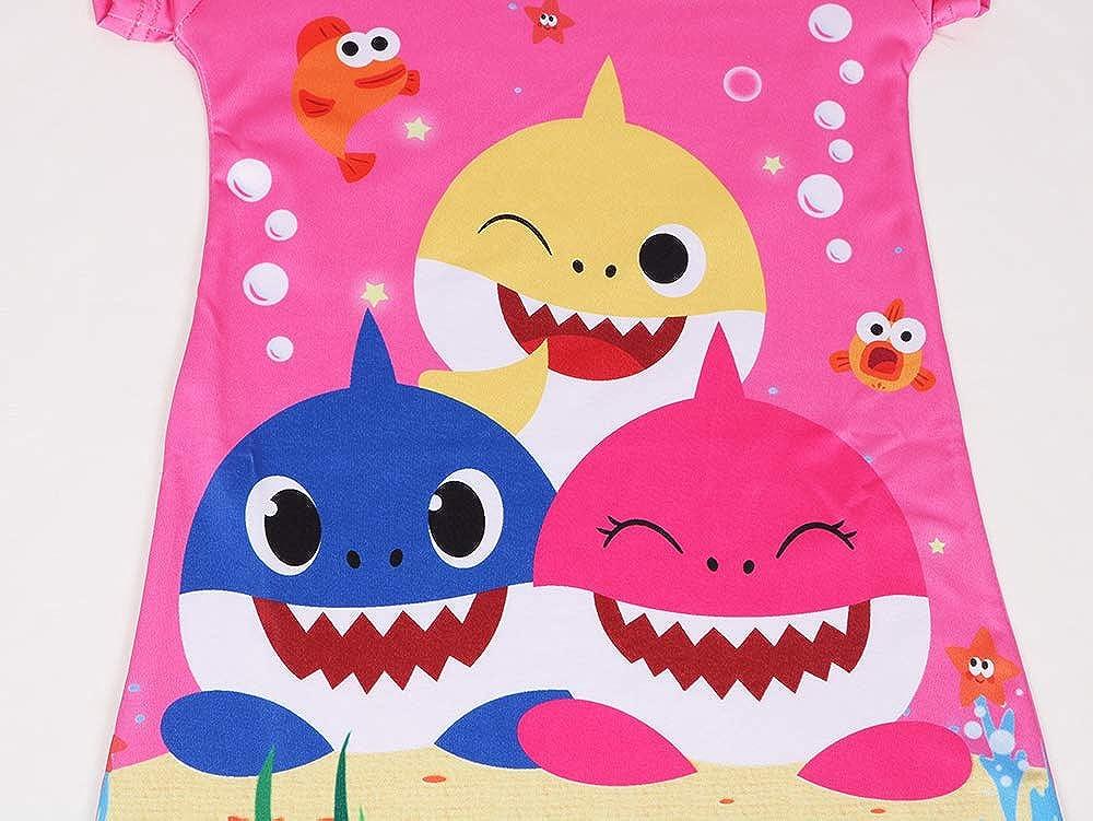 Rylech Toddler Baby Girls Princess Pajamas Shark Cartoon Print Nightgown Dress