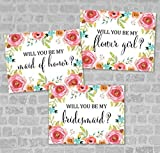 Will You Be My Bridesmaid, Flower Girl, Maid of Honor, Etc, Any Title Combination, Watercolor Flowers Bridal Party Proposal Note Cards Wedding Party Card Set