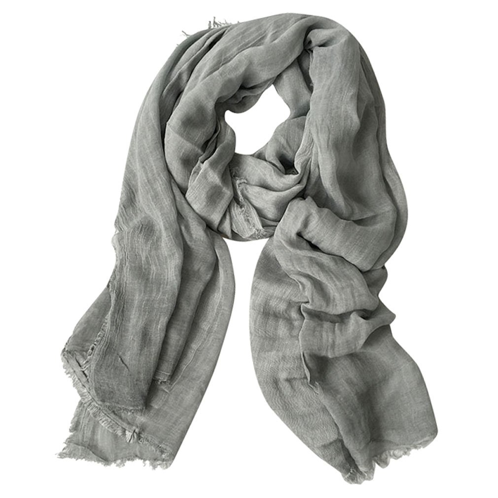 GERINLY Lightweight Men Scarves Soft Warm Crinkle Scarf (Grey)