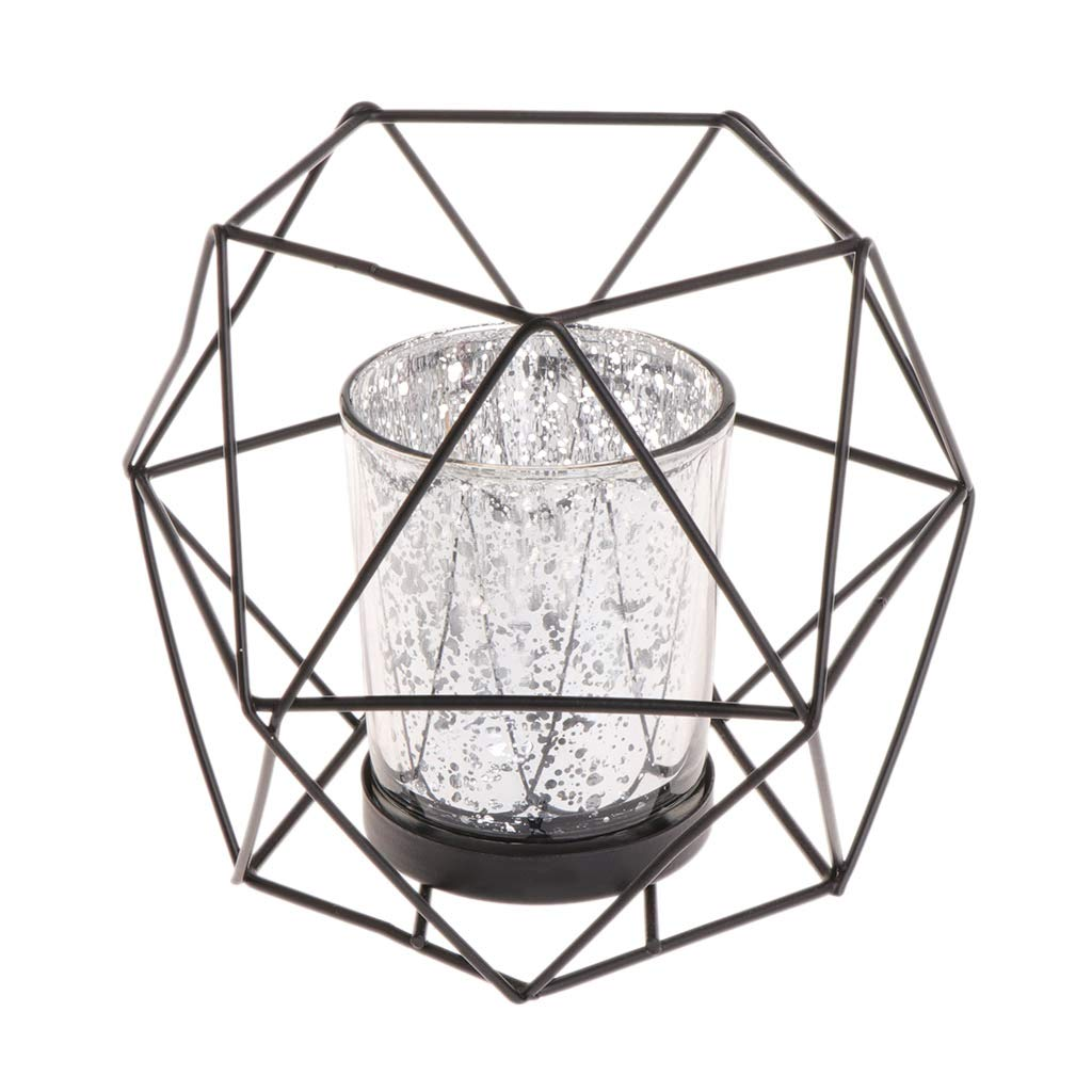 GROOMY 3D Candelabro Geometrico Portacandele in Metallo Stile Nordico per Matrimonio Home Decor Hot Ornament - Nero