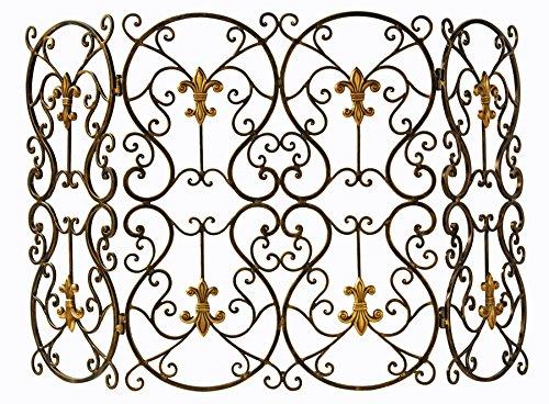 KensingtonRow Home Collection Fireplace Screens - French Quarter Fireplace Screen - Fleur De Lis Fire Screen (Medallion Metal Fireplace Screen)