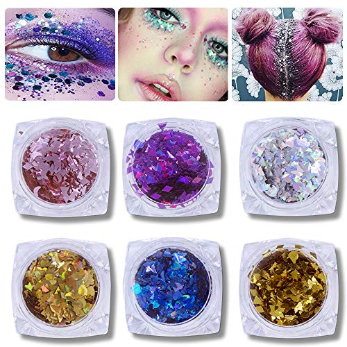 Adhesive Face Decal - Chunky Glitter for Face, Hair and Festival - Body Glitter Face Glitter Mix - Versatile Festival Accessories, Rave Glitter Sequins and Beauty Makeup (6 pack) …