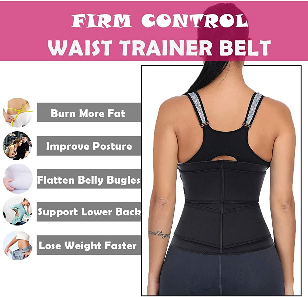Wonder-Beauty Women Waist Trainer Corset Trimmer Belt Body Shaper Cincher Neoprene Sport Girdle with Zipper