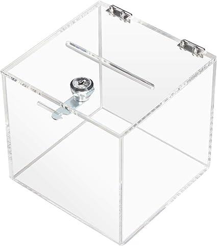 HMF 46919 Caja de donación de acrílico con cerradura | 15 x 15 x ...