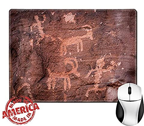 """Luxlady Natural Rubber Mouse Pad/Mat with Stitched Edges 9.8"""" x 7.9"""" ancient petroglyphs fount on the walls of the the Mouse s Tank hiking trail IMAGE - Fount Base"""