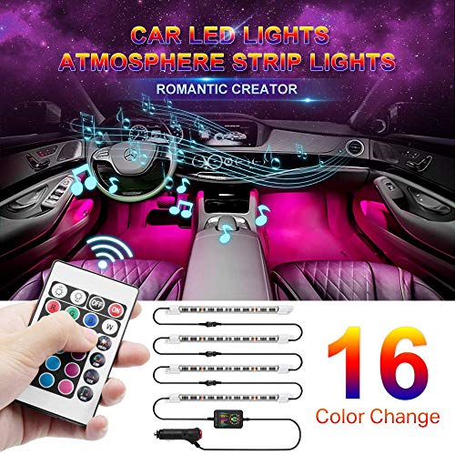 Drita Strip Super 4pcs 48 DC 12V Multicolor Music Car Interior LED Under Dash Atmosphere Neon Lights...