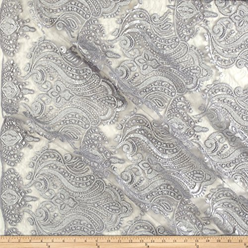 Ben Textiles Medallion Sequin Lace Damask Silver Metallic Fabric by The Yard, 113 Perfect Storm (Medallion Stretch)