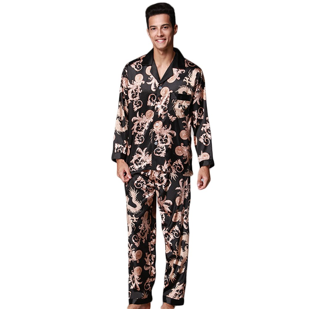 ZUEVI Men's Classic Silk Pajamas Set Sleepwear 5SPA