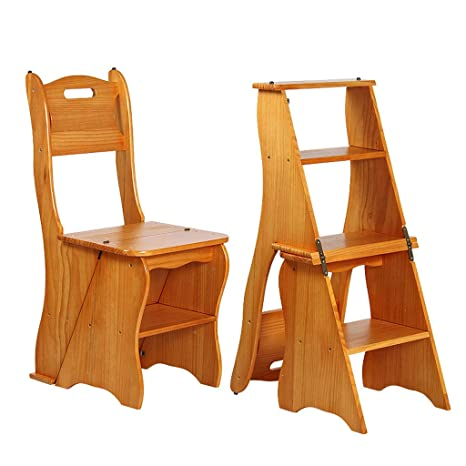 Groovy Amazon Com Retro Step Stool Chair Solid Wood Folding Ladder Ocoug Best Dining Table And Chair Ideas Images Ocougorg
