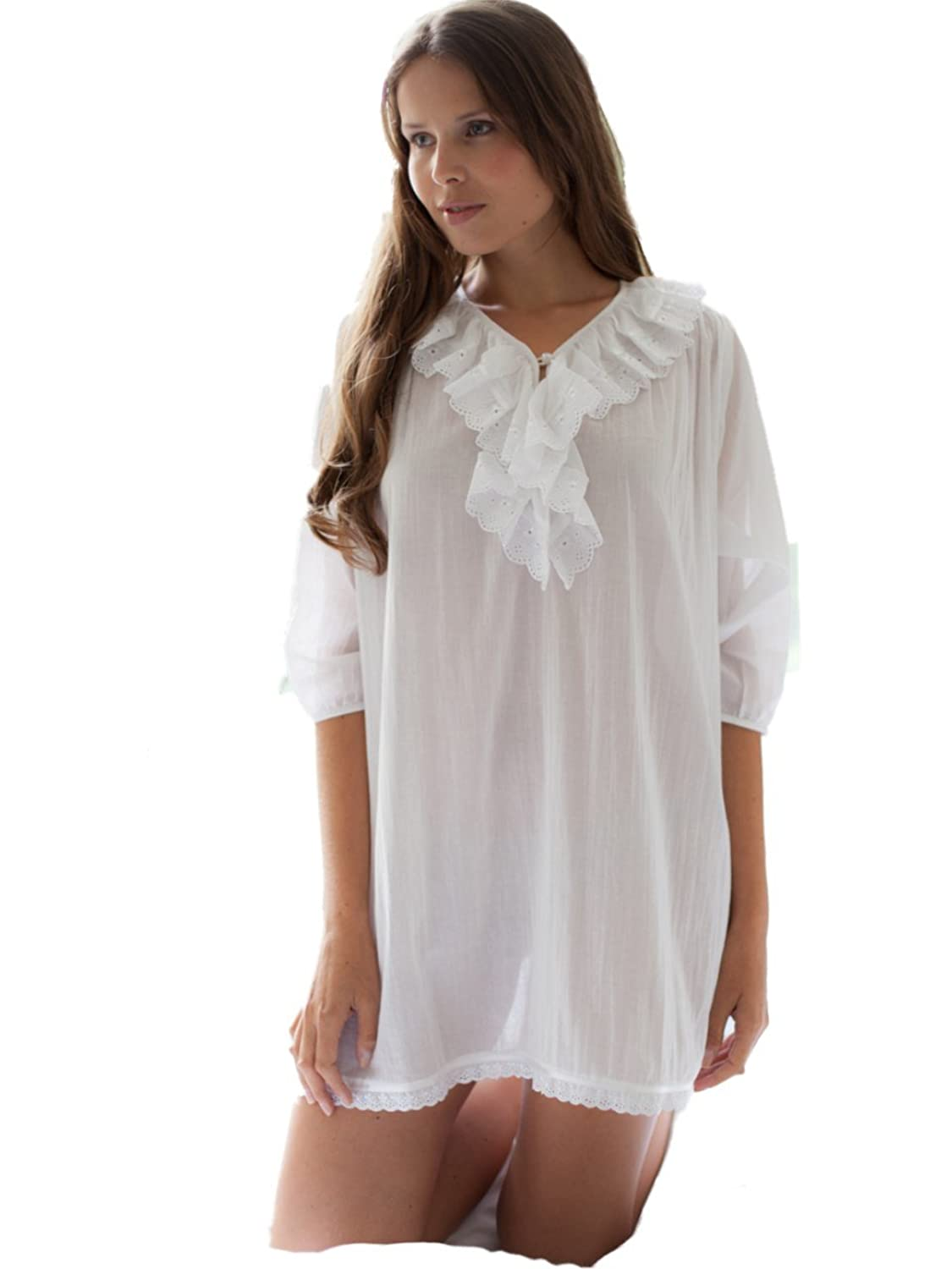 "Cottonreal ""Tomy"" 100% Cotton Batiste Nightshirt in White"