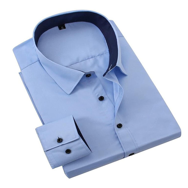 Men Shirt Long Sleeve Slim Fit Cotton Work Shirts (XXXL, Blue)