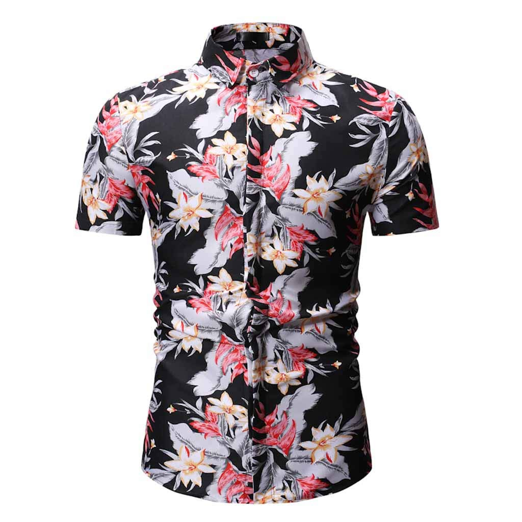 Xlala Men's Short Sleeve Retro Printed Casual Button Down Standing Collar Shirt Gorgeous Hippie Top Beach Vacation Style Novelty Clothing (Black, M)