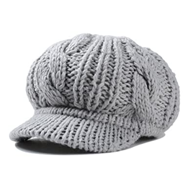 fd0ffa41 HH HOFNEN Yongjie Slouchy Cabled Pattern Knit Beanie Crochet Rib Brim  Newsboy Cap Winter Warm Knit Hat with Visor (Gray) at Amazon Women's  Clothing store: