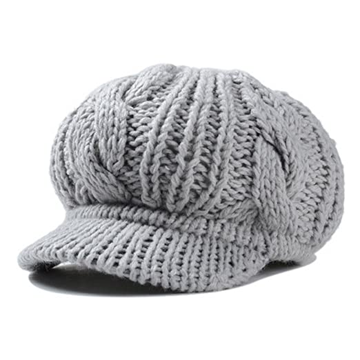 f09c0898b32 HH HOFNEN Yongjie Slouchy Cabled Pattern Knit Beanie Crochet Rib Brim  Newsboy Cap Winter Warm Knit Hat with Visor (Gray) at Amazon Women s  Clothing store