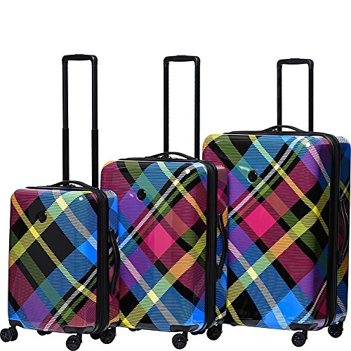 Luggage Plaid Sets (BODY GLOVE Long Lat Tartan 3 Piece Expandable Hardside Spinner Luggage Set)