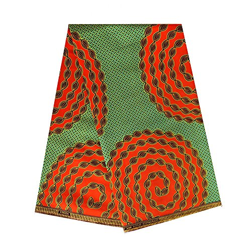 6 Yards African Wax Fabric 100% Cotton Material Dashiki Printed Real Floral for Dress Nigerian French Embroidered Rhinestones Guipure Cord Material Print Cotton ankara -
