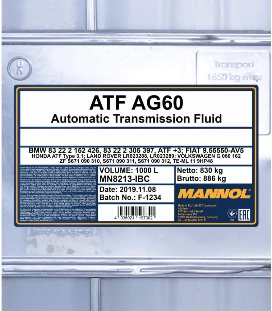 Mannol 1 X 20l Atf Ag60 5 6 8 Stufig Automatikgetriebeoel Auto
