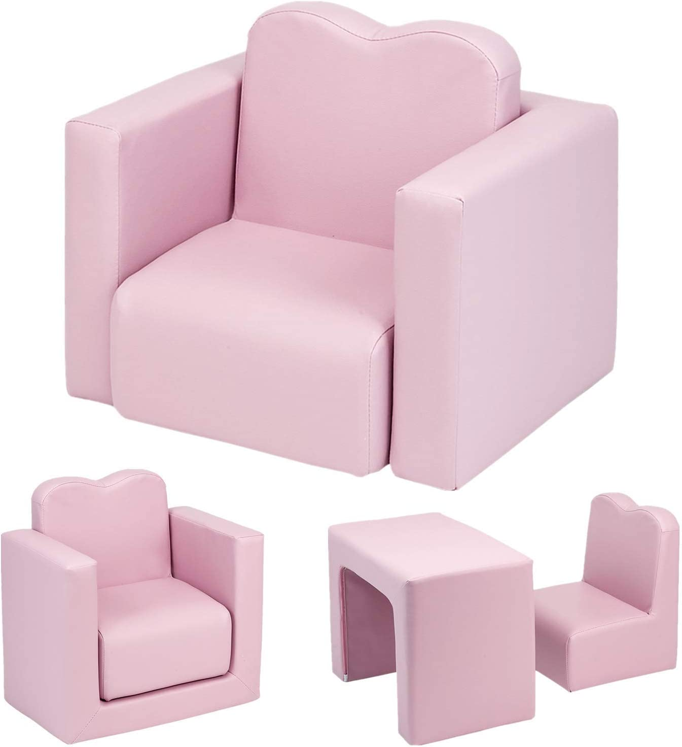 Multifunctional 2 in1 Kids Sofa, Environmental Friendly PVC Toddler Children's Armchair Sofa Living Room Bedroom Furniture Lightweight Padded Table & Chair Set for Girls & Boys