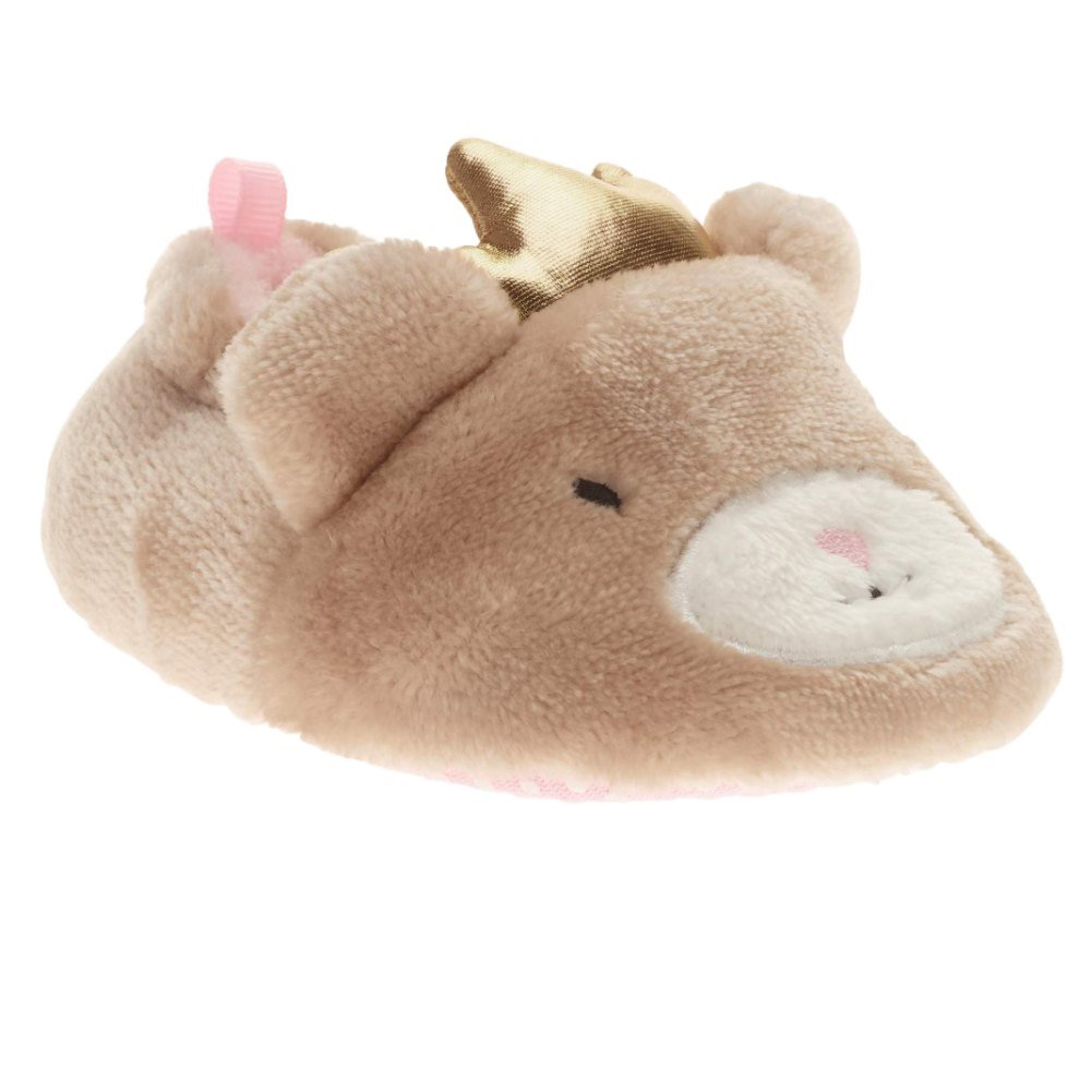 Infant Girls Plush Brown Princess Bear Baby Slippers Prewalk House Shoes