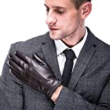 Leather Gloves,Men's Nappa Gunuine Leather Touchscreen Winter Driving Cashmere Lining (X-Large, Brown-Cashmere-Lining)