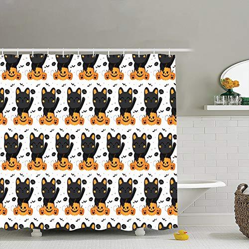 zhufeifan Halloween Autumn Fall Cute Seamless Holidays Animal Fabric Bathroom Decor Set with Hooks, 60 x 72 Inches]()