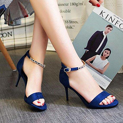 Sandaalit Osoittavat Solki Siniset Tekojalokivi Naisten Naiset Kenkiä Metalli Kesän Korkokengät Nilkkalenkki Tikari 5cm 35 Peep Toe Prom wqg4Tgp