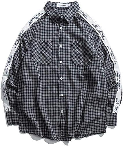 CSDM Camisa de Hombre Letra Cinta Impresa en Manga Camisa con ...