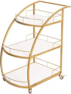 UQA Indoor Modern Iron Bar Cart, Metal Trolley Tea Bar Shelf Drink Wine Rolling Frame Furniture Kitchen Bathroom Cart, Gold