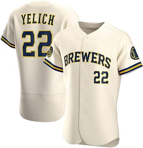 22 Yelich Brewers Camisa de béisbol para Hombre NK Edition Camiseta de béisbol Bordada Camiseta de Manga Corta Juego Uniforme del Equipo Top Abotonado con Franjas Verticales S-3XL: Amazon.es: Deportes y