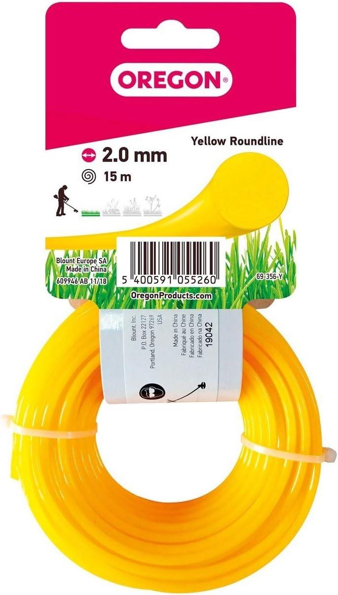 Oregon 69-356-Y Rasentrimmerfaden 2,0 mm x 15 m Gelb Draht f/ür Rasentrimmer und Freischneider