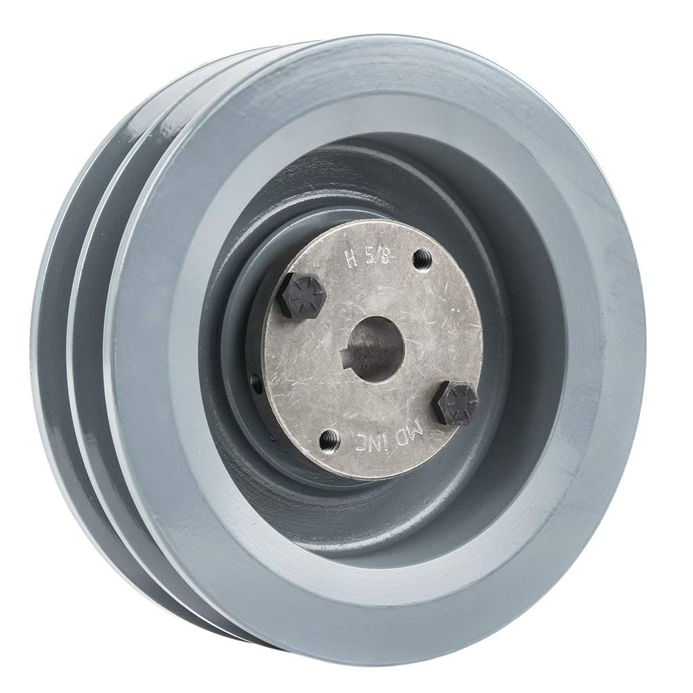 """B Section Dual Groove 2 Piece 6/"""" Pulley w// 5//8/"""" Sheave Shiv Cast Iron 5L V Belt"""