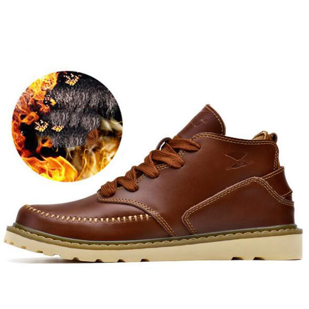 GZZ Schuhe Herren Martin Stiefel Herbst Und Winter Plus Samt Warme Atmungsaktive Beiläufige Lederne Schuhe Im Freien Rutschfeste,rotdish-braun-39