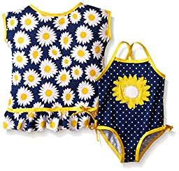 Wippette Baby Sunflower Swim and Cover Up Set, Gold, 18 Months