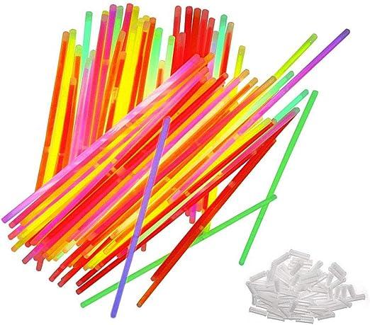 CAOLATOR.Pack de 50 Varitas Luminosas Fluorescentes Palo de Luz Fluorescentes Brillantes Diversos Colores para Fiestas Cumpleaños Bodas: Amazon.es: Hogar