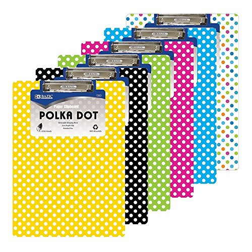 6 Pk, BAZIC Standard Size Polka Dot Paperboard Clipboard w/ Low Profile Clip (Colors May Vary) by Bazic