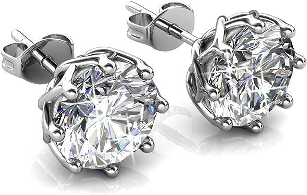 Silver Plated Earring Women Girl Round Stud Earrings White Wedding Wedding Gift Crystal Stone