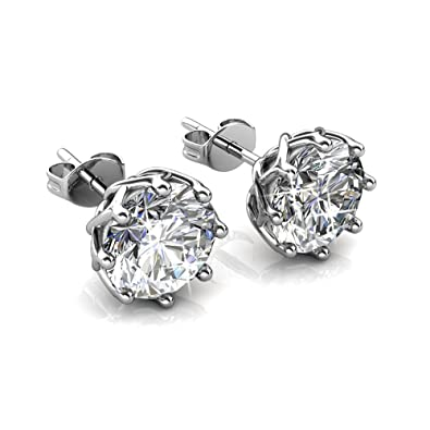 586d13c7e Cate & Chloe Eden Pure 18k White Gold Plated Earrings with Swarovski  Crystals, Sparkling Silver
