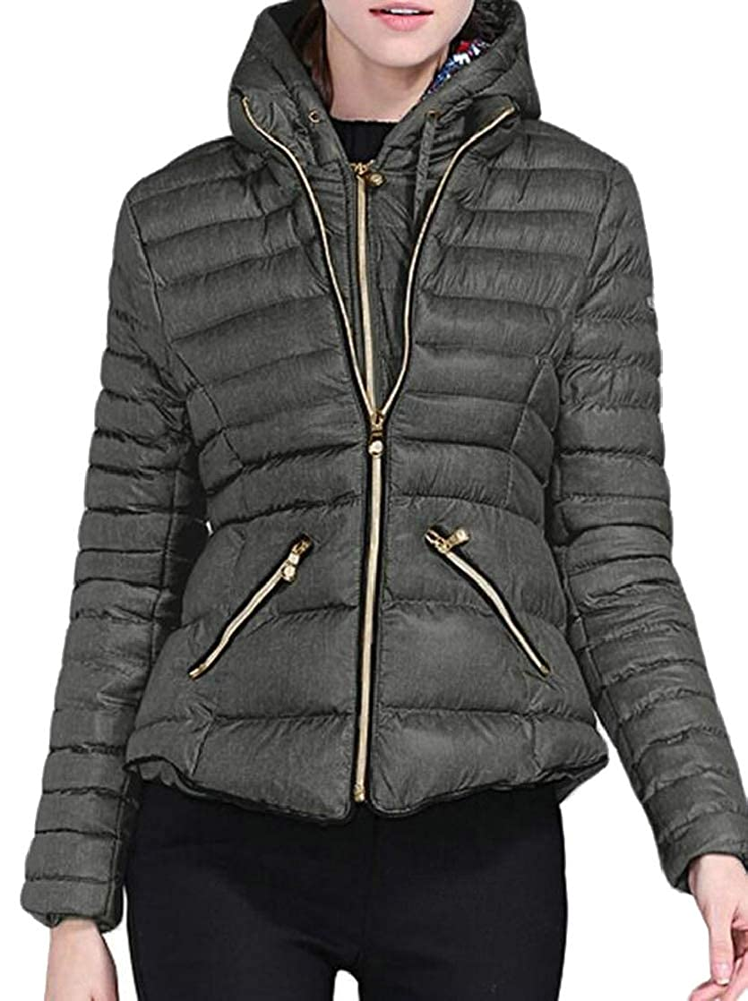 Dark Grey Esast Women Winter Lightweight Hooded Packable Padded Puffer Down Jackets