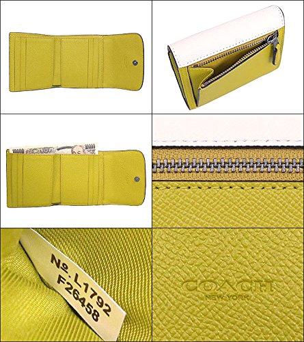 ab4498c225eb Amazon   [コーチ] COACH 財布 (三つ折り財布) F26458 チョーク×シャルトリューズ QBN2O レザー 三つ折り財布 レディース  [アウトレット品] [並行輸入品]   財布