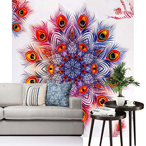 Vibola Summer Peacock Feather Bohemia Tapestry Boho Wall Hanging Beach Towel Hippie Bedspread Yoga Mat Blanket