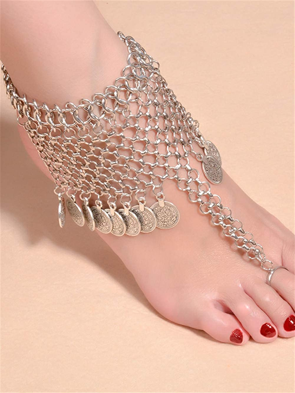 Retro Exaggeration Folk Leisure Yoga Coins Beach Tassels Anklets Foot Chain for Women MeniaMeow Alloy Mesh Coin Fringed Boho Belly Dance Anklet
