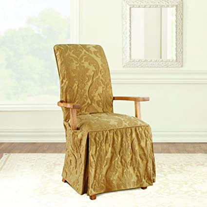 Brilliant Sure Fit Matelasse Damask Arm Long Dining Chair Slipcover Gold Uwap Interior Chair Design Uwaporg