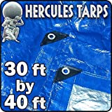 30' x 40' - Hercules Tent Shelter Tarp Cover Waterproof Tarpaulin Plastic Tarp Protection Sheet for Contractors, Campers, Painters, Farmers, Boats, Motorcycles, Hay Bales - Hercules Tarp - Blue/Silver