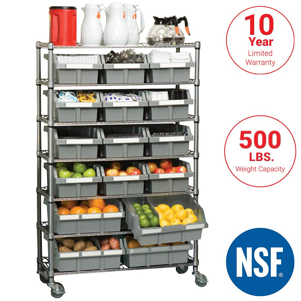 Seville Classics Commercial 7-Tier 16-Bin Rack Storage System