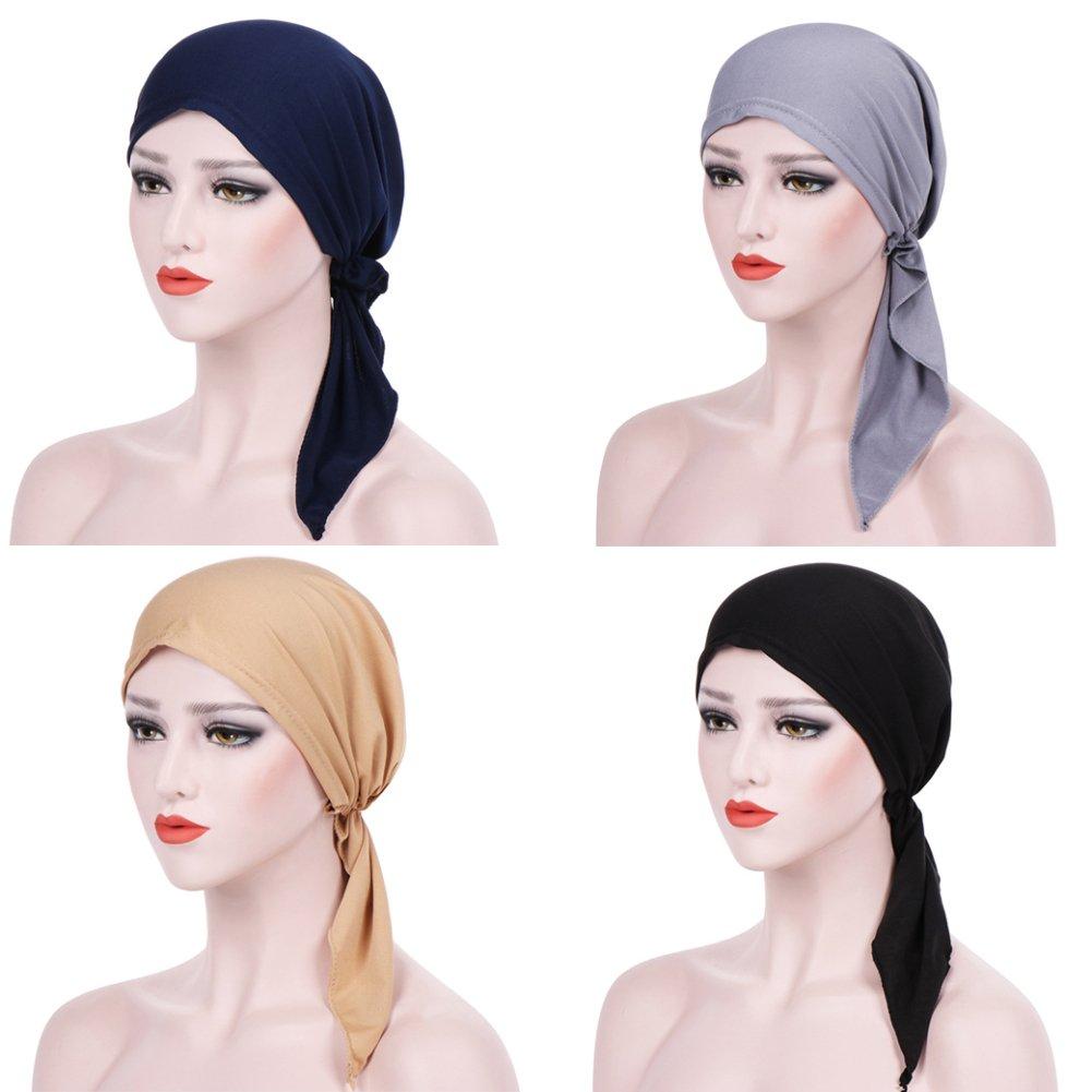 Trenton Bella Scarf Chemo Hat Turban Head Scarves Pre-Tied Headwear Bandana Tichel for Cancer (Black) by TRENTON (Image #3)