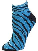 Animal Print Anklet Sock, Turquoise Zebra