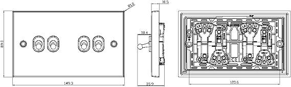 Interruptor de 2 v/ías Knightsbridge CSTOG4AB 10 A, 4 G, lat/ón Envejecido
