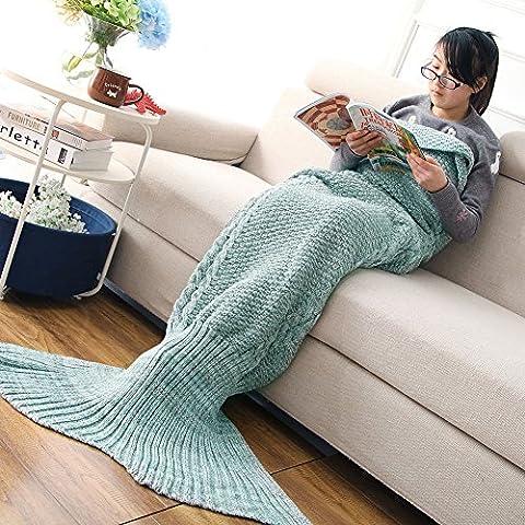 Mermaid Tail Blanket Handmade Soft Sleeping Bag Crochet Knitting Living Room Quilt All Seasons Sofa Best Fashion Birthday Christmas Gift For Mom & Kids (Mom (Super Easy Halloween-kostüme Für Kinder)