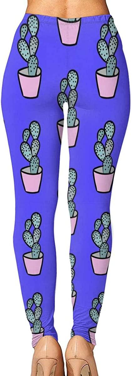 Hand Drawn Succulent Womens Printed Yoga Pants High Waisted Workout Leggings